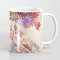 amsterdam Mugs featuring Amsterdam by MapMapMaps.Watercolors