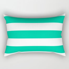 Caribbean green - solid color - white stripes pattern Rectangular Pillow