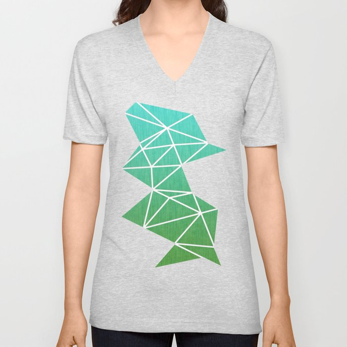 Abstract geometric | green & turquoise Unisex V-Neck