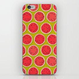 watermelon polka chartreuse iPhone Skin