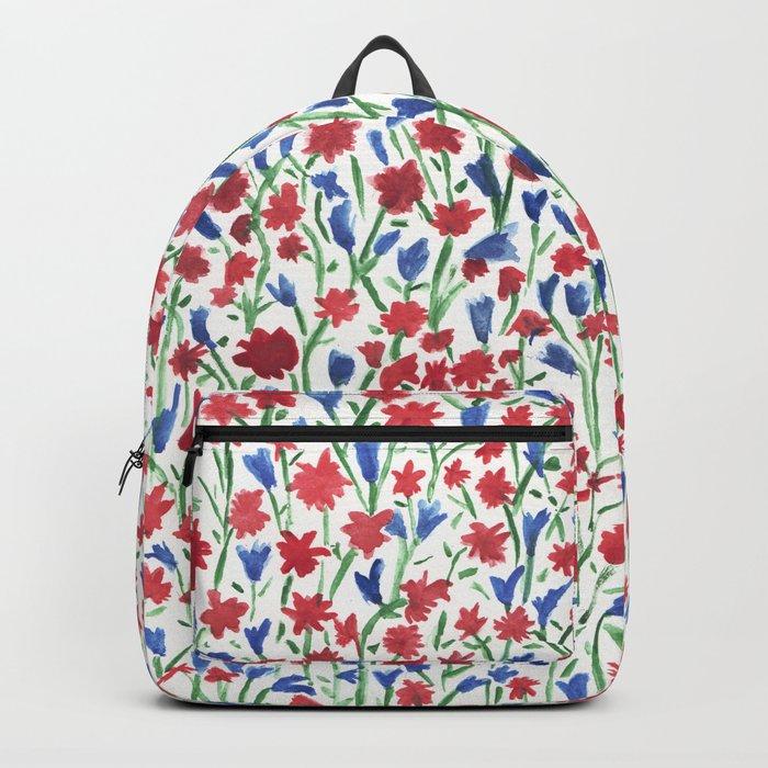 Watercolor miniature flowers floral pattern Backpack