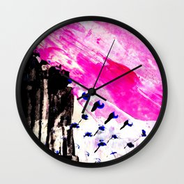 Funky abstract pink Wall Clock