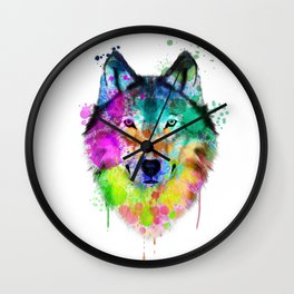 Wolf Watercolor, Wolf Painting, Wolf Portrait, Wolf art, Wolf illustration Wall Clock