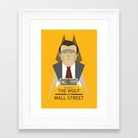 wolf of wall street Framed Art Prints featuring Wolf of Wall Street Movie Poster by Gary  Ralphs Illustrations