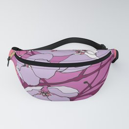 Blossoming Spring Crabapple Flowers in Magenta, Peach, and White Fanny Pack