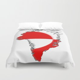 Greenland Map with Flag Duvet Cover