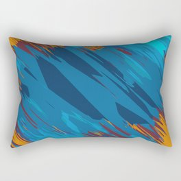 psychedelic geometric abstract background in blue yellow brown Rectangular Pillow