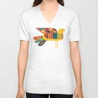 mid century V-neck T-shirts featuring Century Bird by Picomodi