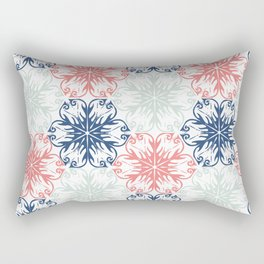 Floral in Aqua, Coral Red and Navy Blue Rectangular Pillow