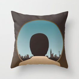 Man Looking Out Over City Throw Pillow