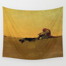 """""""Marooned"""" Pirate Art by Howard Pyle Wall Tapestry"""