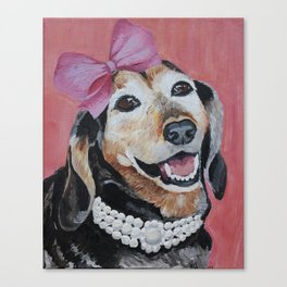All Dolled Up Dachshund Canvas Print