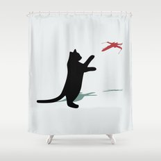 Cat and X-Wing Shower Curtain