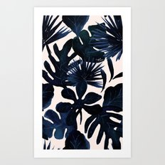 Tropical Leaves - Midnight Art Print