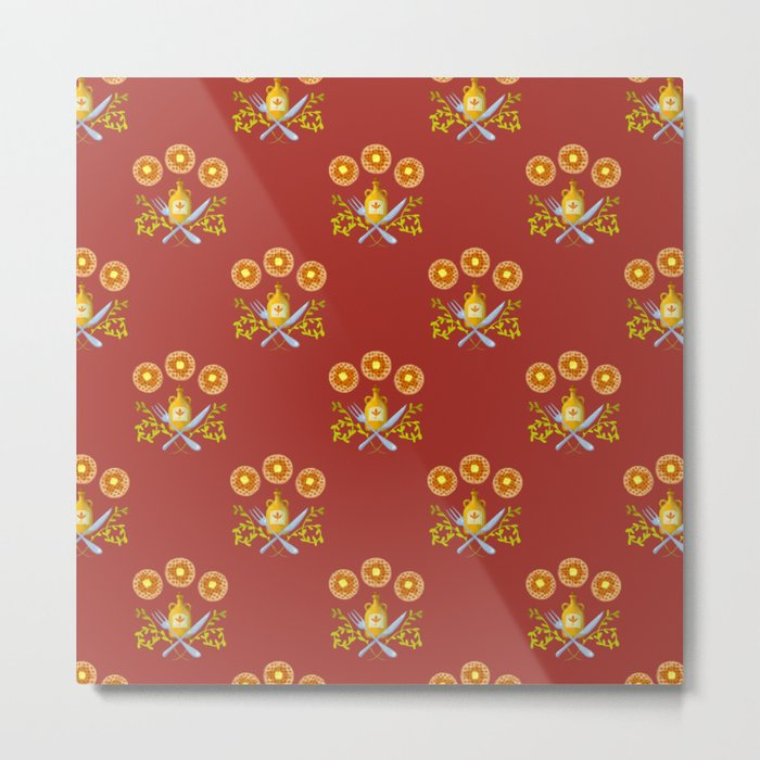 Waffle and Syrup (Strawberry Jam Crimson) Metal Print