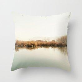 Autumn Lake Scene Throw Pillow