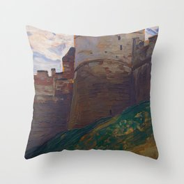 Nicholas Roerich - The Fortress Tower, Nizhny Novgorod - Digital Remastered Edition Throw Pillow