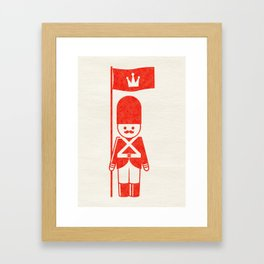 English toy soldier standard-bearer, drawing with letterpress effect. Framed Art Print