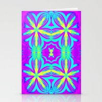 psychedelic art Stationery Cards featuring psychedelic Floral Fuchsia Aqua by 2sweet4words Designs
