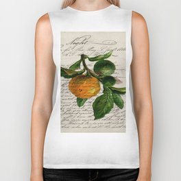 Shabby French botanical print tangerine clementine mandarin orange Biker Tank