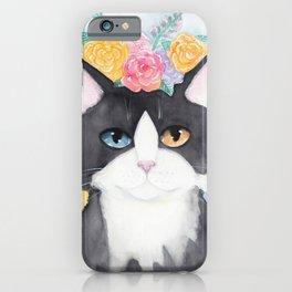 Springtime Flowers Tuxedo Cat iPhone Case
