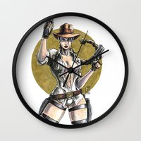 lara croft Wall Clocks featuring Lara Croft Indy by Juan Pablo Cortes