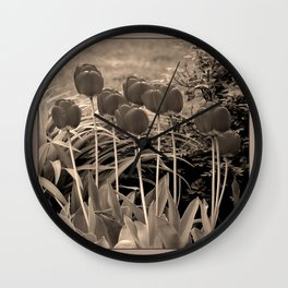 sepia tulip clump Wall Clock