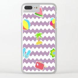 Summertime Girly Beach Pattern | Kids Pink Chevron Pop Art Clear iPhone Case