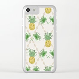 Exotic tropical  pattern with palm branches and pineapples . Clear iPhone Case