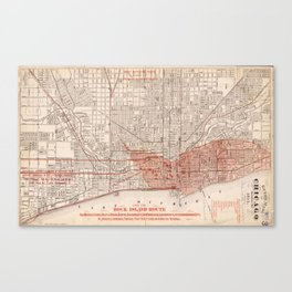 Vintage Railroad Map of Chicago (1871) Canvas Print