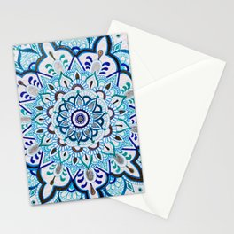 Gold Silver Blue Mandala Stationery Cards