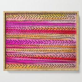 FUNKY RHYTHM 2 - Beautiful Fun Collaboration w Sreetama Ray, Pretty Feminine Pink Orange Pattern Serving Tray