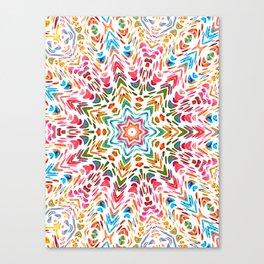 Colourful Floral Mandala Star Canvas Print