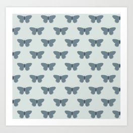Butterflies Pattern in Neutral Blue Gray and Ice Blue Art Print