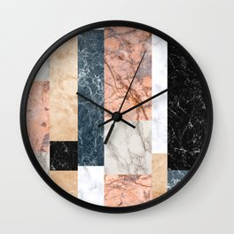 Marble Colorblock Stripes Wall Clock