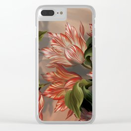 """Coral flowers on white silk"" (Air Spring) Clear iPhone Case"