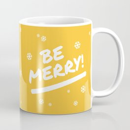 Mustard Yellow Be Merry Christmas Snowflakes Coffee Mug