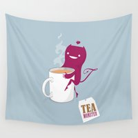mandie manzano Wall Tapestries featuring Tea Monster by DWatson