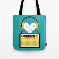 radio Tote Bags featuring Radio Mode Love by Picomodi