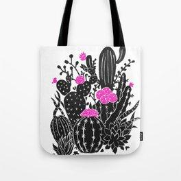 Cactus Flowers (bw/pink) Tote Bag