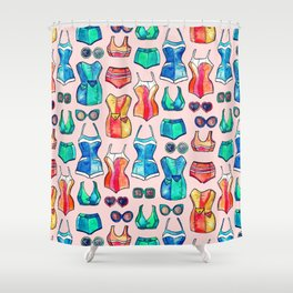 Sixties Swimsuits and Sunnies on blush pink Shower Curtain
