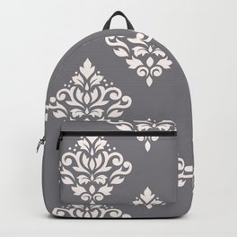 Scroll Damask Art I Cream on Grey Backpack