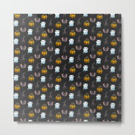 Cute Halloween Cat Kitten Bat Pattern Metal Print