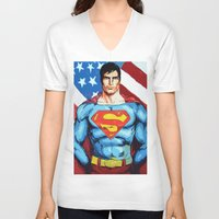 man of steel V-neck T-shirts featuring Man of Steel by Dave Franciosa