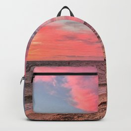Pink Sunset Sky at the Beach Backpack