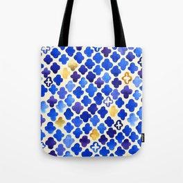 Rustic Watercolor Moroccan in Royal Blue & Gold Tote Bag