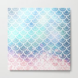 Mermaid Scales Turquoise Pink Sunset Metal Print