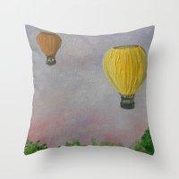 hot air balloon Throw Pillows featuring Hot Air Balloon Adventure by RokinRonda