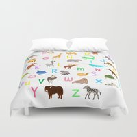 alphabet Duvet Covers featuring Animal Alphabet by Sian Keegan