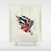 taurus Shower Curtains featuring Taurus by Det Tidkun